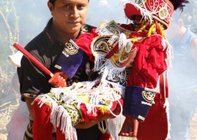 This is the Maya ceremony in the Fiesta of the Gran Iquís, Feb. 3rd in San Bernardino, Suchitepéquez. He is a character in the Dance of the Conquest, but to the kaqchiqueles he is known as brujo, shaman. or red.