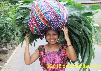 Wendy, of San Juan la Laguna carrying corn leaves. These can be used to feed the livestock, but more likely she will use them to wrap food.