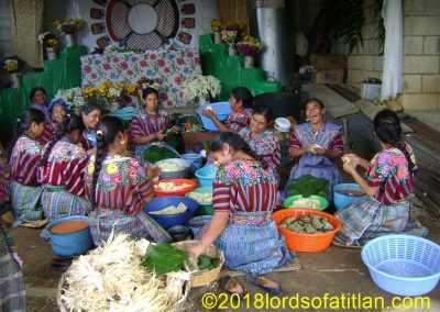 While the processions and folkloric dances of Patzún are beautiful, probbably the most festive part of the celebration is the communal preparation of the ceremonial food.