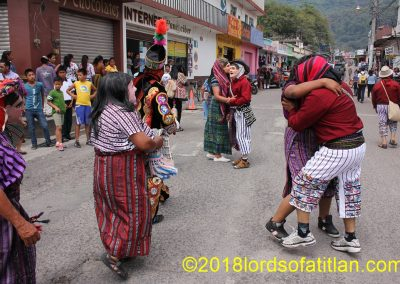 In the celebration of Corpus Cristi in Panajachel there are outfits from all over Guatemala. In this photo, however, everyone appears to be from Santiago Atitlán.