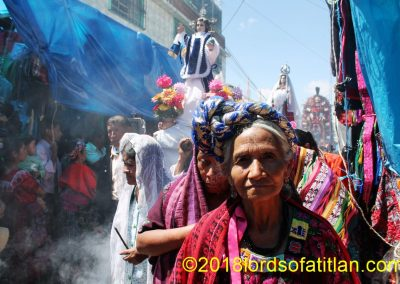 She walks in the procession for St. James in Patzicia, Chimaltenango. However, St. James is also the patron saint of Antigua Guatemala and various towns throughout the Republic bearing the name Santiago.