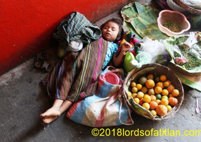 Child from Tzampoj, Santa Catarina Ixtahuacán, Sololá. However she sleeps in market of Samayac.