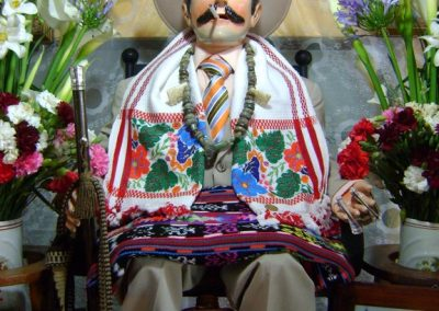 My first image of Maximón in Panajachel, although his scarf comes from SAn Antonio Aguascalientes. Here he sports his finest threads for the fiesta in his honor, Oct. 28th.